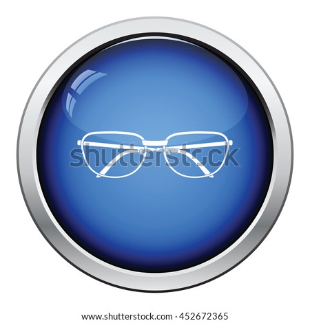 Glasses icon. Glossy button design. Vector illustration.
