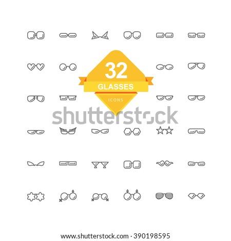 Glasses Icons ( Line Icon ) - stock vector