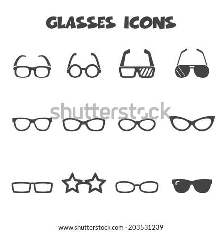 glasses icons, mono vector symbols - stock vector
