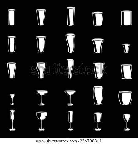 Glasses Icons Set - Isolated On Black Background - Vector Illustration, Graphic Design Editable For Your Design