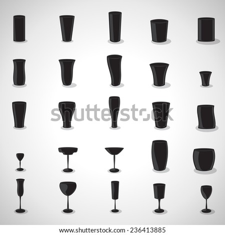 Glasses Icons Set - Isolated On Gray Background - Vector Illustration, Graphic Design Editable For Your Design