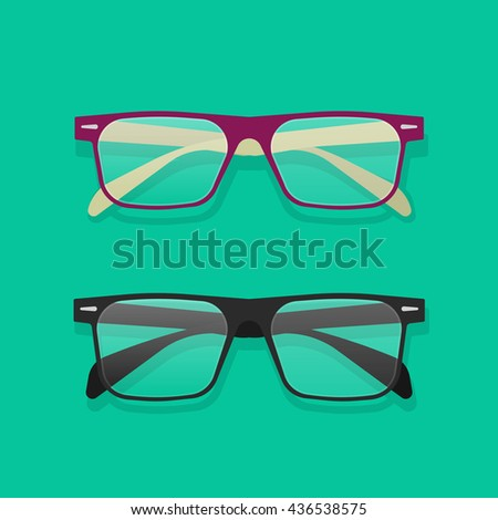 Glasses isolated vector illustration, flat violet and black eyeglasses on table