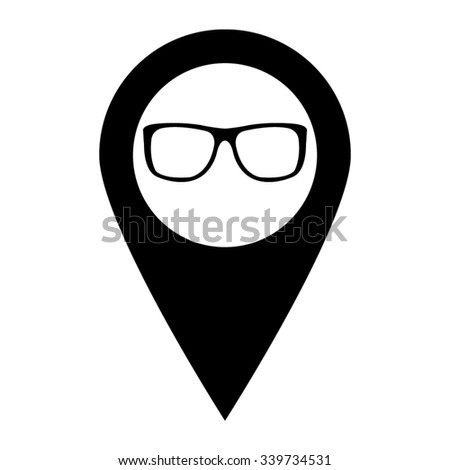 glasses - map pointer vector icon - stock vector