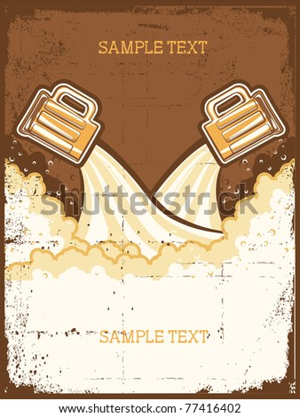 Glasses of beer. Beer background.Vector grunge Illustration for text - stock vector