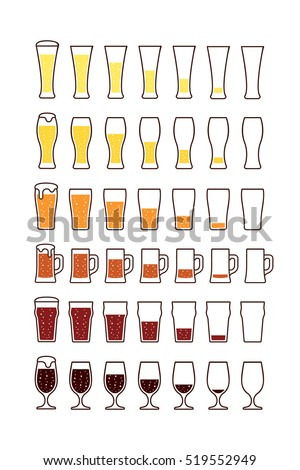 Glasses of beer with bubbles: empty half full. Vector illustration