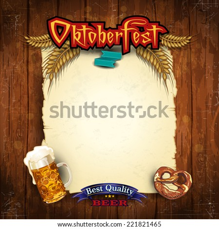 Glasses of beer with pretzels and parchment where you can insert your own text-Vintage effects can be removed- Transparency blending effects and gradient mesh- EPS 10  - stock vector