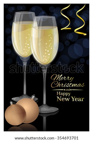 Glasses of champagne on a black background. Merry Christmas and Happy New Year. Vector Christmas card. - stock vector