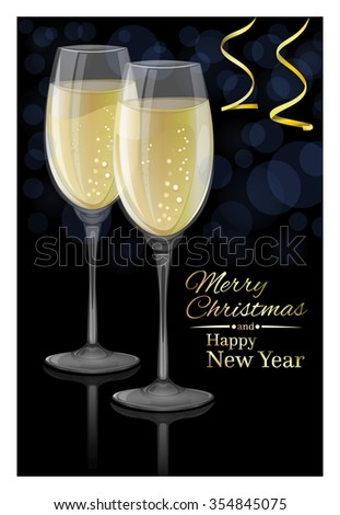 Glasses of champagne on a black background. Merry Christmas and Happy New Year. Vector Christmas card.