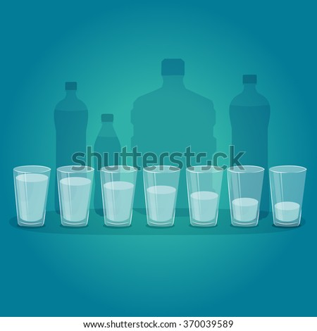 Glasses of water. Water infographics element. - stock vector