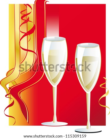 Glasses of wine at a festive background with multicolored ribbons - stock vector