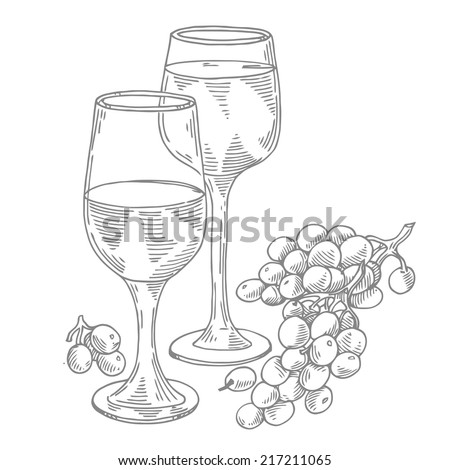 glasses of wine with grapes - stock vector