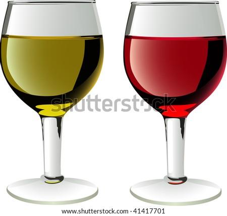 glasses of wines in vector - stock vector