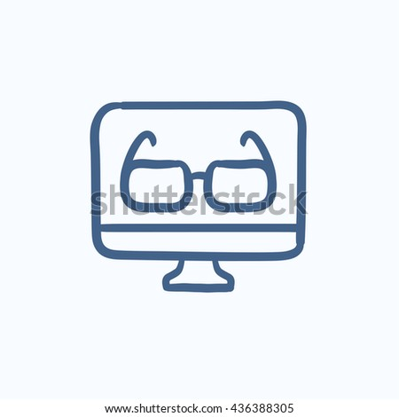 Glasses on computer monitor vector sketch icon isolated on background. Hand drawn Glasses on computer monitor icon. Glasses on computer monitor sketch icon for infographic, website or app. - stock vector