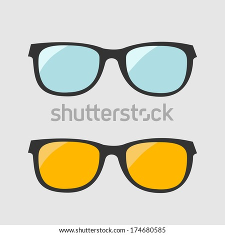 Glasses set. Blue and yellow lenses. Isolated Icons. Vector illustration. - stock vector