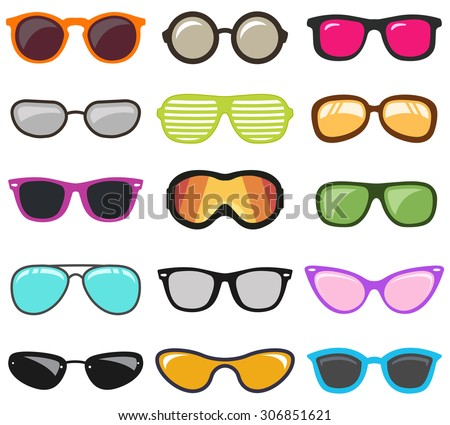 Glasses set.Vector - stock vector