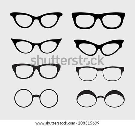 Glasses vector set. Retro, hipster styles. Vector illustration - stock vector