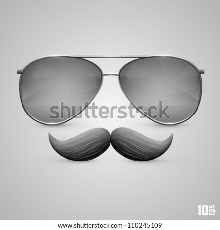 glasses with a mustache - stock vector