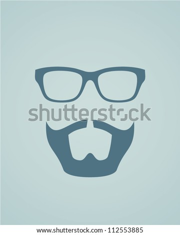 Glasses with beard. Vector illustration - stock vector