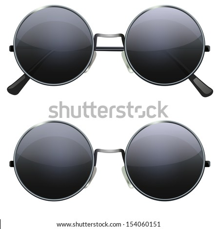Glasses with black round lenses isolated on white background, illustration - stock vector