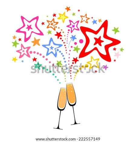 Glasses with champagne against fireworks.  Celebration  background with Two Glasses of champagne, firework and place for your text.  Vector Illustration  - stock vector