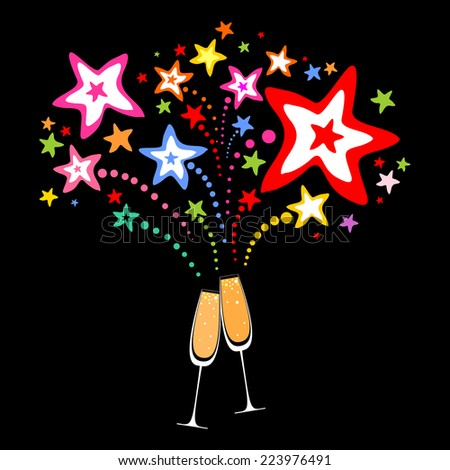 Glasses with champagne against fireworks. Celebration black background with Two Glasses of champagne, firework and place for your text. Vector Illustration - stock vector