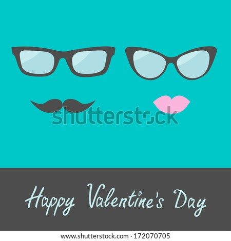Glasses with lips and moustache. Flat design. Happy Valentines Day card. Vector illustration.