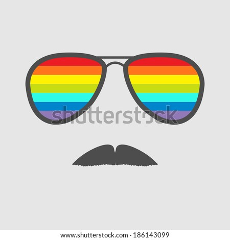 Glasses with rainbow lenses and mustaches. Isolated icon. Vector illustration. - stock vector