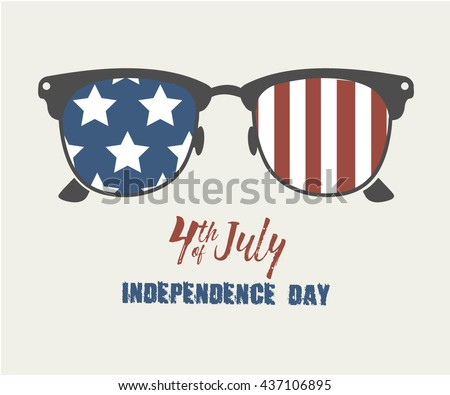 Glasses with stars and strips. Happy independence day United states of America. 4th of July. Vector illustration - stock vector