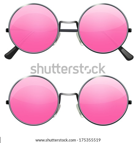 Glasses with transparent pink round lenses isolated on white background, illustration - stock vector