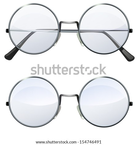 Glasses with transparent white round lenses isolated on white background, illustration - stock vector