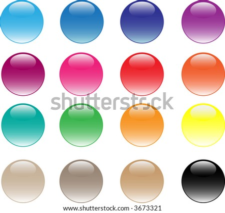 glassy buttons. 16 different colors
