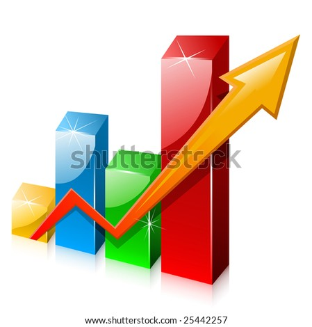 Glassy colorful graph with arrow - stock vector