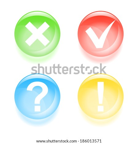 Glassy information icons. Vector illustration.