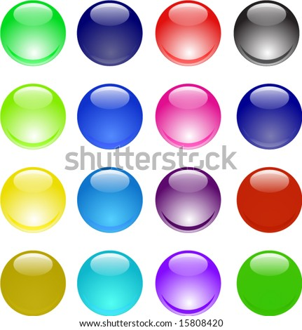 Glassy shining 3d sphere icon set - stock vector