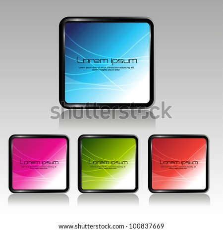 glassy square banner/buttons - stock vector