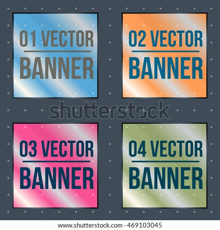glassy square colored banners on a dark background, vector illustration