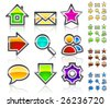 Glassy web icons. Colorful variant. Crystal series. - stock vector