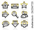Glassy web icons. Gold Grey variant. Crystal series. - stock vector