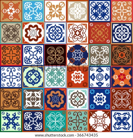 Glazed ceramic tiles Mega set. Colorful vintage tiles with floral and geometrical patterns, Spanish, Italian, Portuguese and oriental motifs. Gradation of terracotta and blue shadows. - stock vector