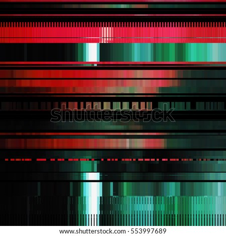 Glitch Abstract Background With Distortion Effect Bug Error Random Horizontal Red And Green