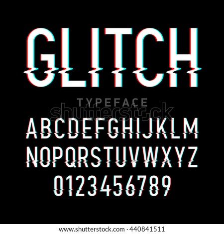 Glitch distortion typeface. Letters and numbers vector illustration. - stock vector