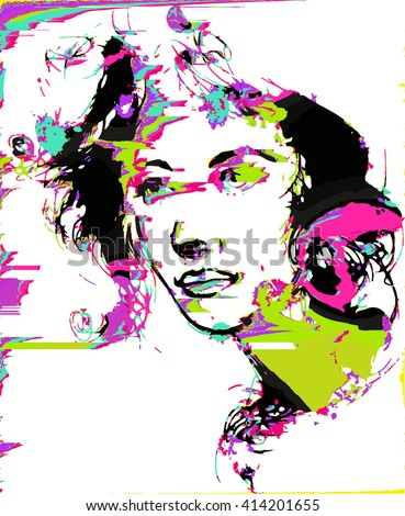 glitched woman portrait - stock vector