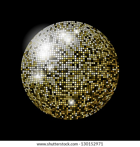 Glitter ball design in eps10 format. Transparencies used in screen mode. - stock vector