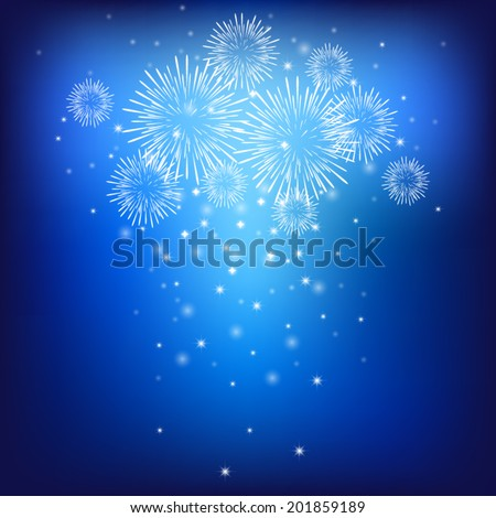 glitter firework pattern on dark blue sky background (vector) - stock vector