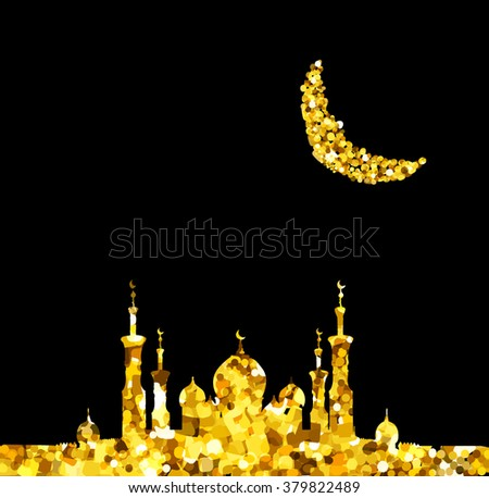 Glitter gold Silhouette of mosque with minarets and moon Crescent. Concept for Islamic Muslim holidays Mawlid birthday prophet Muhammad, holy month Ramadan Kareem, Eid Mubarak, Fatima bint Muhammad - stock vector