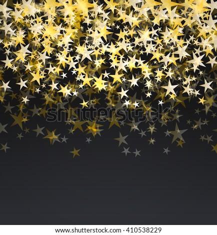 glitter golden stars falling over black background. abstract celebration vector background - stock vector