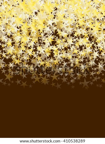 glitter golden stars falling over brown background. abstract celebration vector background - stock vector