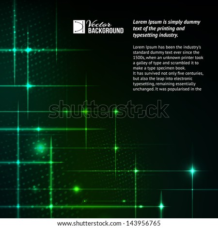 Glitter stars on green light burst. Vector illustration, contains transparencies and effects.