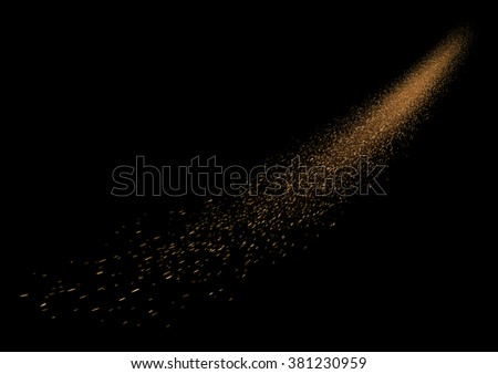 Glittering comet falling star with dust trails. Vector eps10. - stock vector