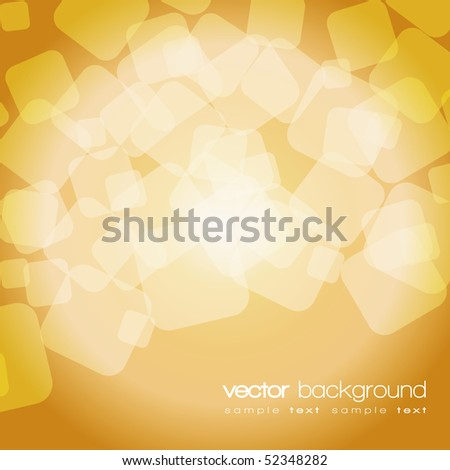 Glittering gold lights background with text - vector - stock vector